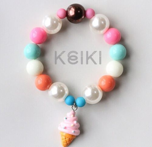 Children's Bracelet - Sweets Charm Pink Soft Serve キッズブレスレット keikitheshop