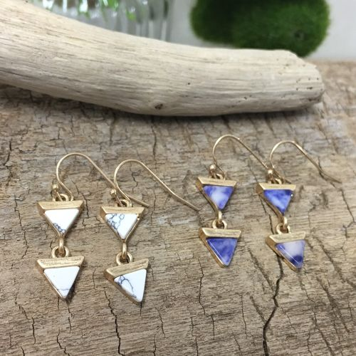 Semiprecious GEOMETRIC Triangle Pierce (TE0439)