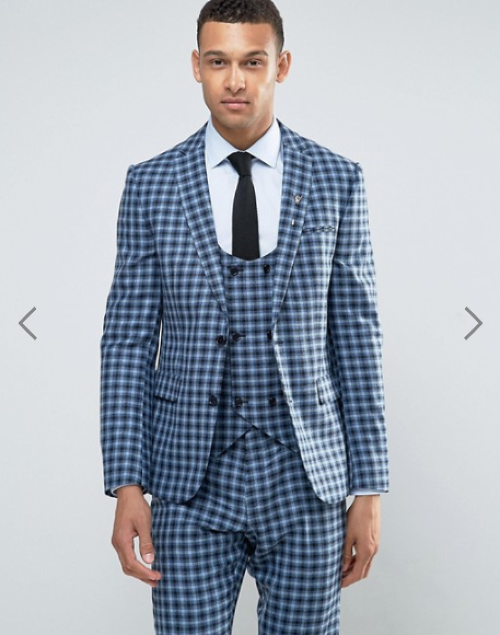 ASOS Slim Suit Jacket In 100% Wool Blue Check
