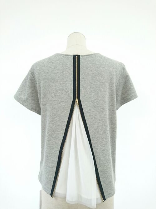 back zipper tulle tops/kaene