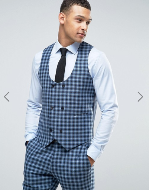 ASOS Slim Suit Double Breasted Waistcoat In 100% Wool Blue Check