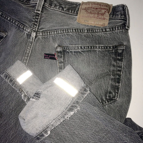 """""""on Mark,Sue going"""" tapered 501 with reflected inseam BK"""