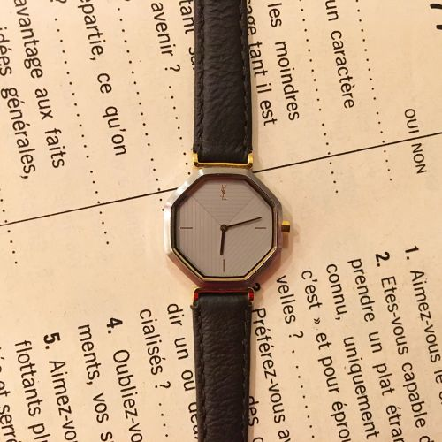 YSL 8face leather belt watch