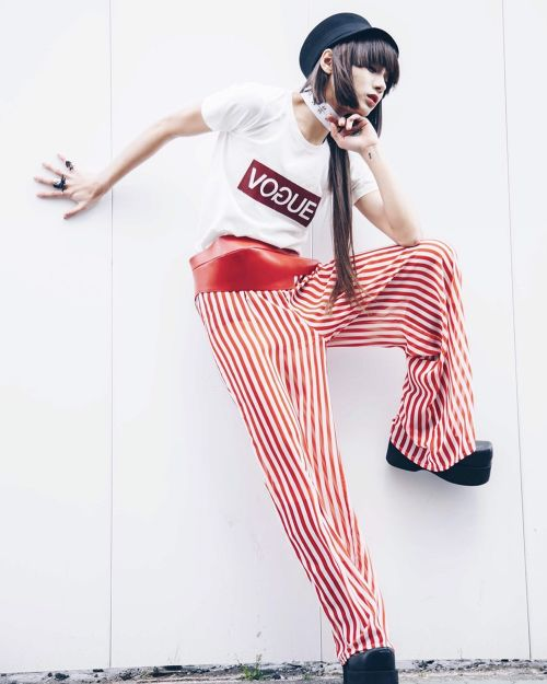 See-through RED Stripe WIDE pants