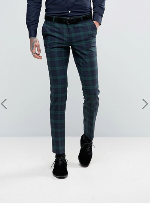 Noose & Monkey Super Skinny Suit Trousers In Check