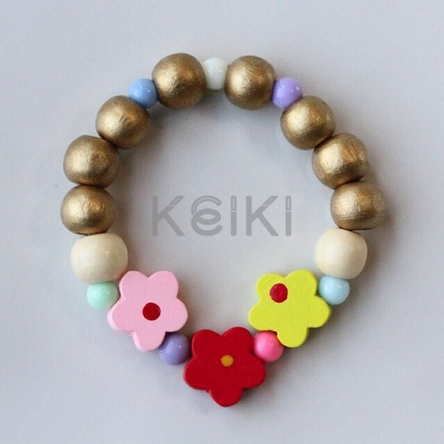 Children's Bracelet - Flower Silver Pink Red Yellow キッズブレスレット keikitheshop