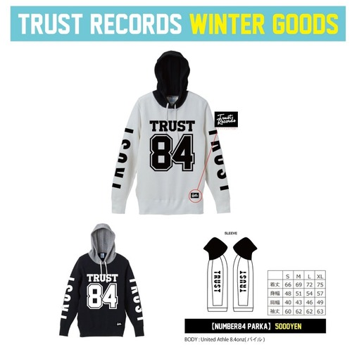 TRUST RECORDS 【NUMBER 84 PARKA】ホワイト、ブラック