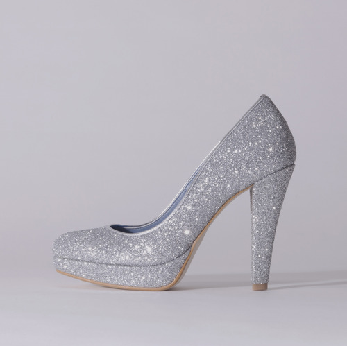 Glitter / Close Toe / 12cm / Silver
