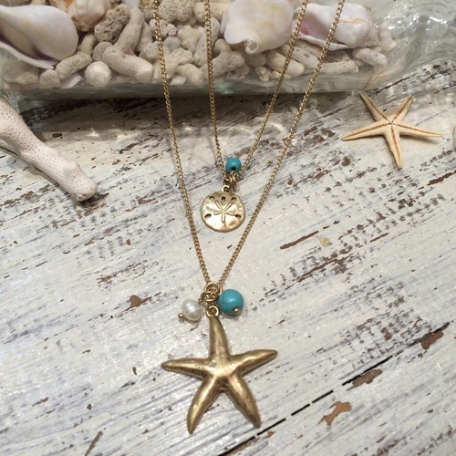 2 Layer Charm STAR FISH Necklace (PS0378-N)
