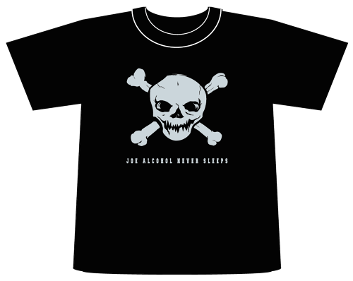 ご予約商品 特典バッチ付き JOE ALCOHOL NEVER SLEEPS 6,0oz T-shirts blk