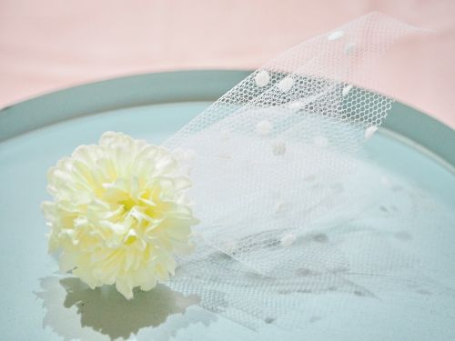 tulle flower hair elastic〜white〜