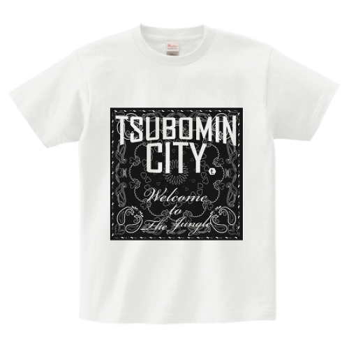 TSUBOMIN / BANDANA TSUBOMIN CITY T-SHIRT WHITE x BLACK