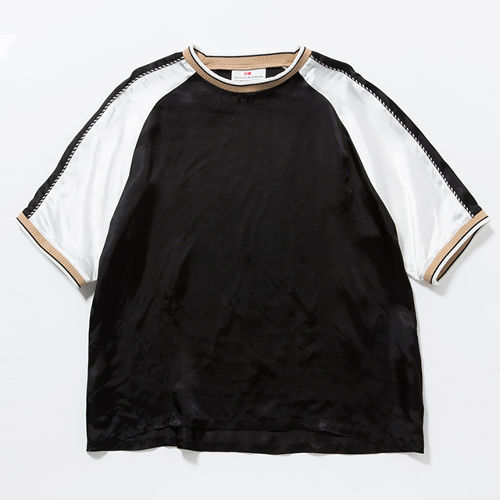 SATIN SOUVENIR  TEE - BLACK