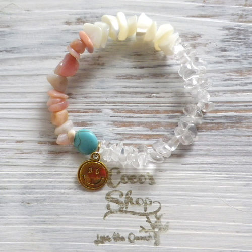 Power Stone Bracelet -Pink Opal&Mother of Pearl&Crystal-