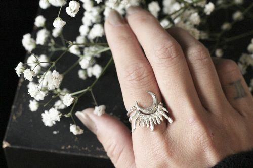 Selene's Crescent Moon and Sun Stacking Ring Set
