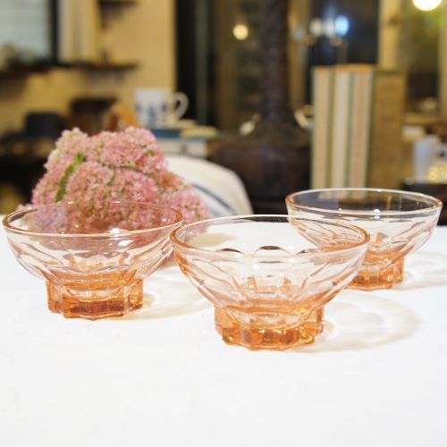 """60's French Vintage """"arcoroc [アルコロック]"""" Clear Pink Glass Small Plate   [GV-20]"""