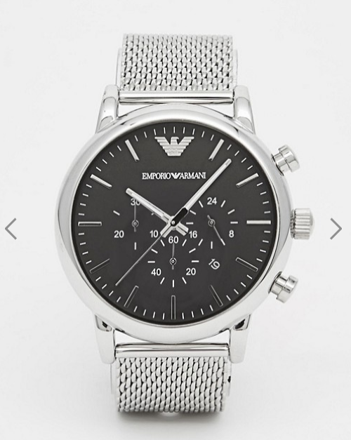 Emporio Armani Chronograph Watch With Stainless Steel Mesh Strap AR1808