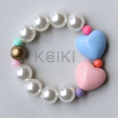 Children's Bracelet - Hearts Pink Blue キッズブレスレット keikitheshop