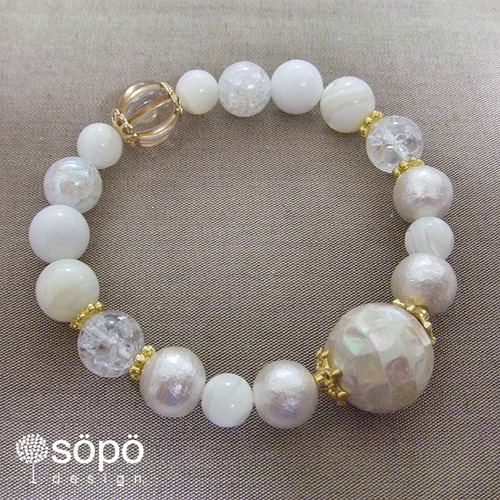 【再販!】054. power stone jewelry bracelet -white-