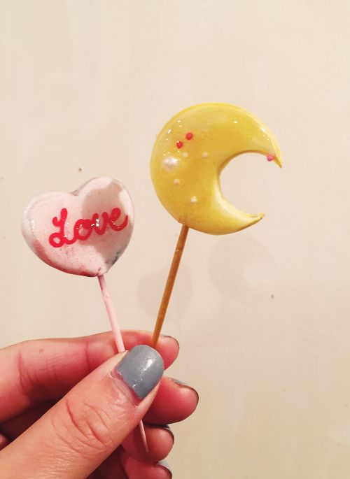 "cukr - ""heart&moon lollipop brooch set"""
