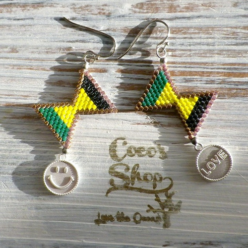 ◆SALE ¥300 OFF◆ Cute Ribbon  Pierce -Flag of Jamaica-