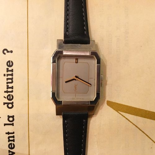 YSL silver  squareface lether belt watch