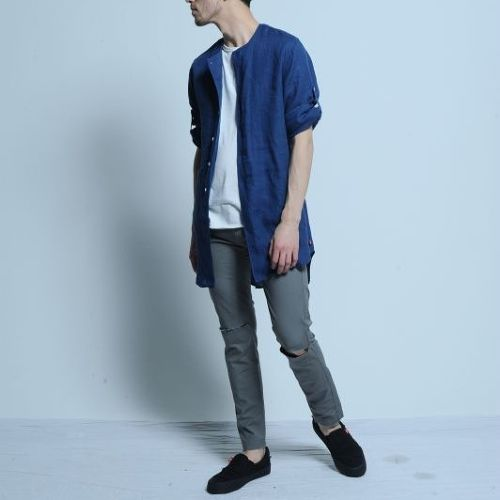 """VIRGO / ヴァルゴ   """" REFINED MIDDLE SHIRTS """" リネンロングシャツ 7部袖"""
