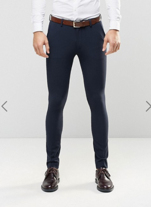 ASOS Super Skinny Fit Suit Trousers In Navy