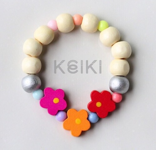 Children's Bracelet - Flower Cream Pink Orange Red キッズブレスレット keikitheshop