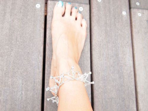 Three-dimensional Toge ANKLET[Silver]