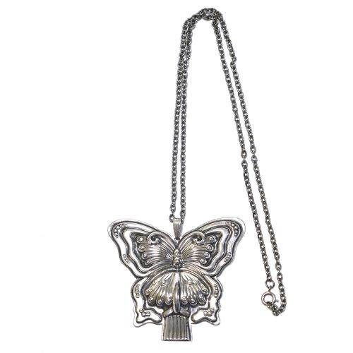 Reed & Barton 70's Vintage Sterling Silver Butterfly Whistle Necklace