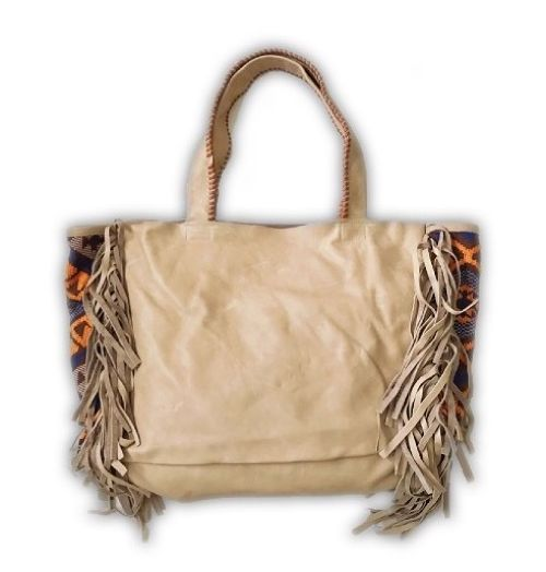 SALE40% Gray Fringe × Mexican Rug Tote Bag