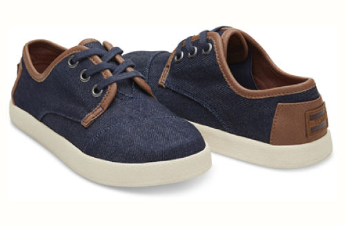 30%OFF ! TOMS  BLUE DENIM TEXTILE YOUTH PASEOS  トムス キッズ