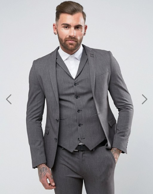 ASOS Super Skinny Fit Suit Jacket In Salt And Pepper