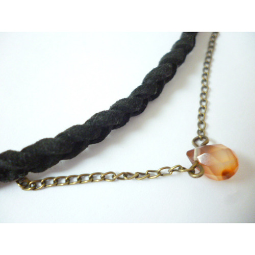 Carnelian Drop-Necklace with fake leather