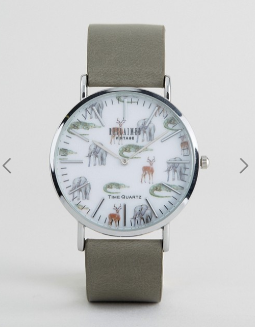 Reclaimed Vintage Inspired Safari Leather Watch In Grey