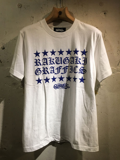 RAKUGAKI STAR OLD ENGLISH Logo T-Shirts WHITE x NAVY