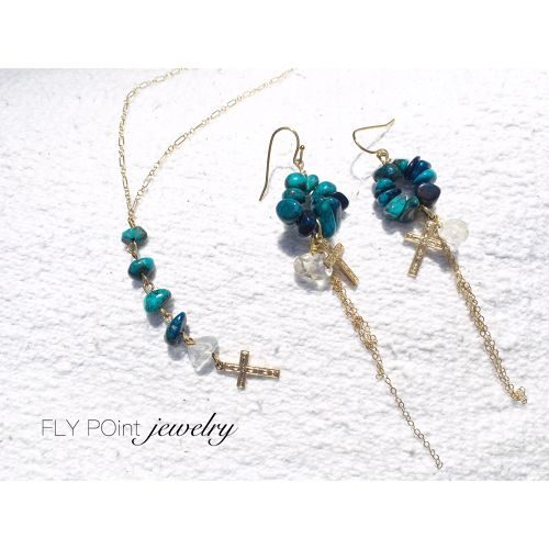 "14kgf "" cross chrysocolla pierce"""
