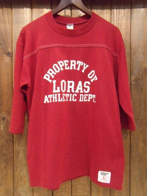 Vintage★80's【Colleriate Pacific】Football Tee