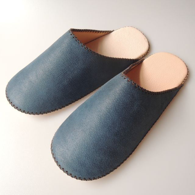 TOKYO Lether simple slippers [Blue suède] Chrome-free