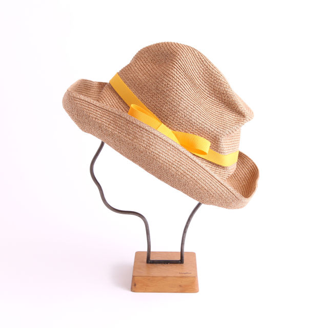 mature ha./BOXED HAT 101 mixbrown×yellow