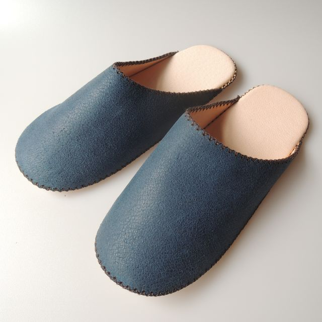 【Small】TOKYO Lether simple slippers [Blue suède] Chrome-free