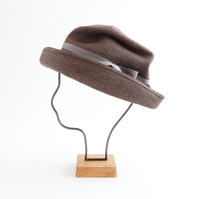 mature ha./BOXED HAT 101 darkbrown×grey
