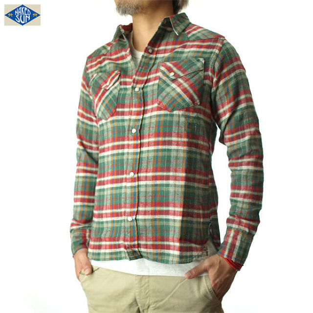 015003002(CHECK WESTERN SHIRTS)GREEN