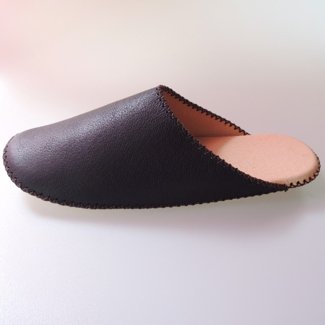 【PRE ORDER】TOKYO leather simple slippers [BLACK] Chrome-free