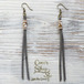 Fake Leather Tassel Pierce -Gray-