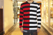 Big border long sleeve t-shirt half & half