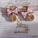 Cute Ribbon  Pierce -Purple Pink&Smile-