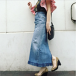 Finge denim skirt CaNARi