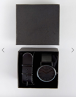 Reclaimed Vintage Inspired Interchangable Mesh & Leather Strap Watch Gift Set In Black